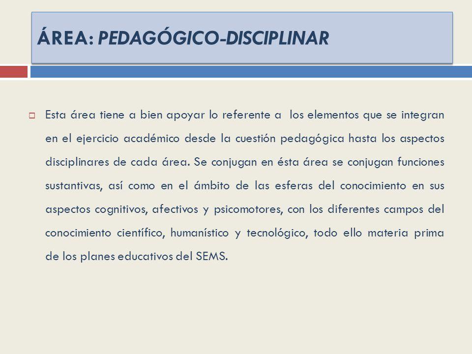 ÁREA: PEDAGÓGICO-DISCIPLINAR Esta área tiene a bien apoyar lo referente a los elementos que se integran en el ejercicio académico desde la cuestión pedagógica hasta los aspectos disciplinares de cada área.