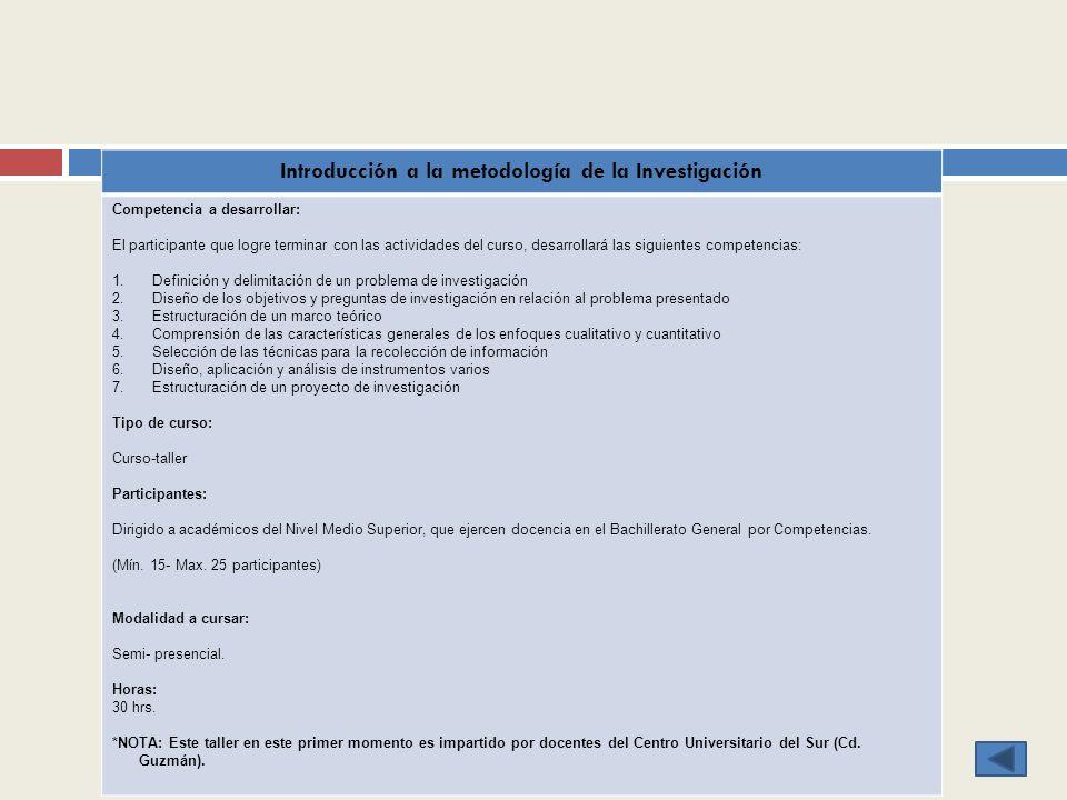 Introducción a la metodología de la Investigación Competencia a desarrollar: El participante que logre terminar con las actividades del curso, desarro