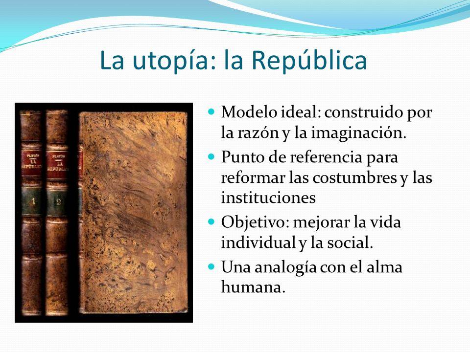 La utopía: la República Modelo ideal: construido por la razón y la imaginación. Punto de referencia para reformar las costumbres y las instituciones O