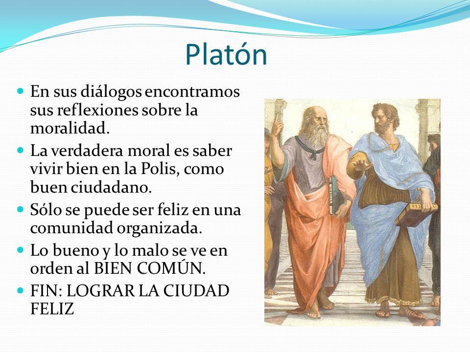 Platón En sus diálogos encontramos sus reflexiones sobre la moralidad. La verdadera moral es saber vivir bien en la Polis, como buen ciudadano. Sólo s