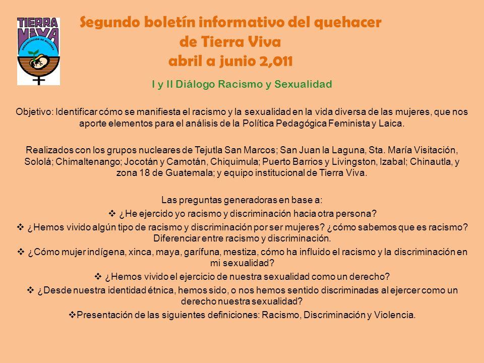 Segundo boletín informativo del quehacer de Tierra Viva abril a junio 2,011 I y II Diálogo Racismo y Sexualidad Objetivo: Identificar cómo se manifies
