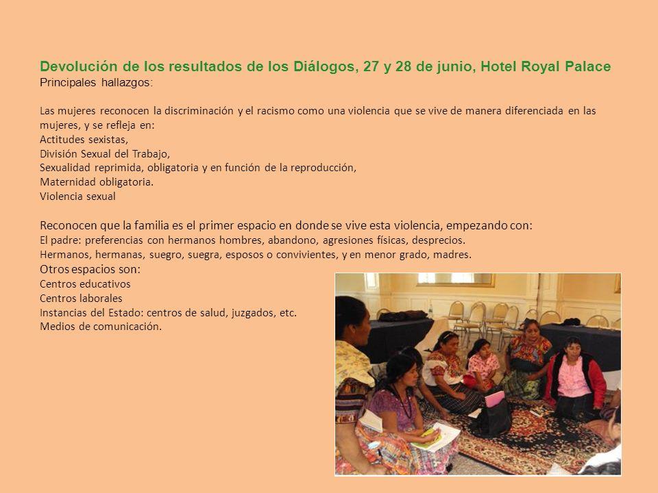 Devolución de los resultados de los Diálogos, 27 y 28 de junio, Hotel Royal Palace Principales hallazgos: Las mujeres reconocen la discriminación y el