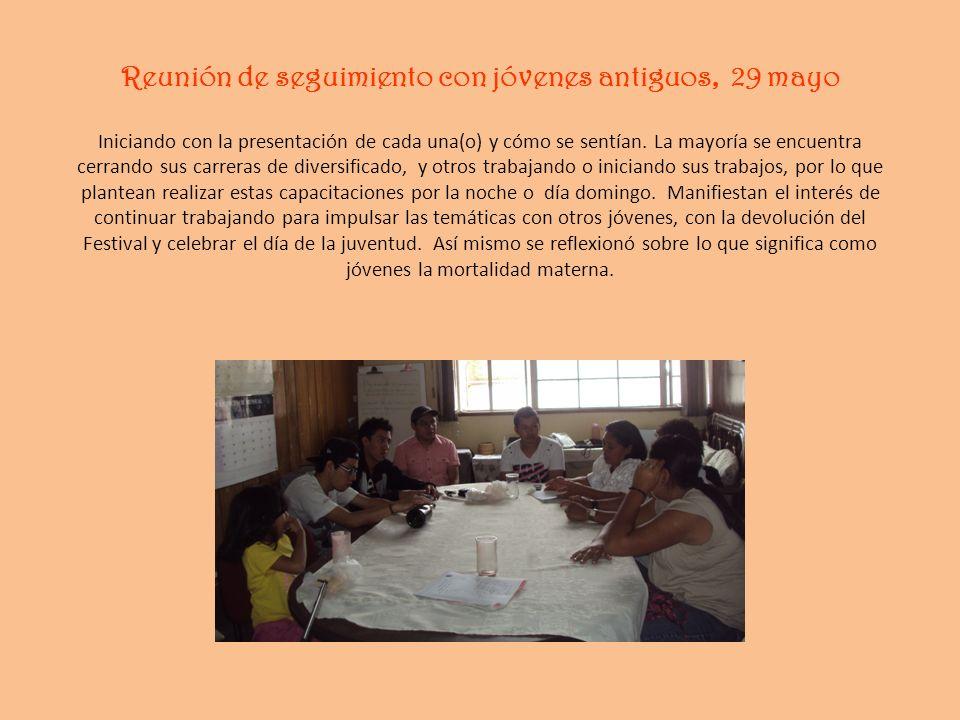 Reunión de seguimiento con jóvenes antiguos, 29 mayo Iniciando con la presentación de cada una(o) y cómo se sentían. La mayoría se encuentra cerrando