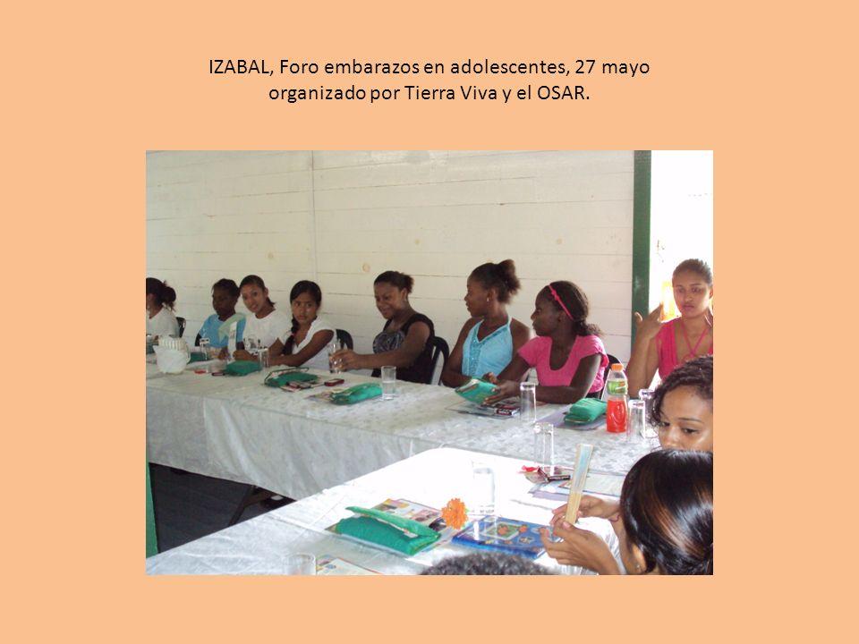 IZABAL, Foro embarazos en adolescentes, 27 mayo organizado por Tierra Viva y el OSAR.