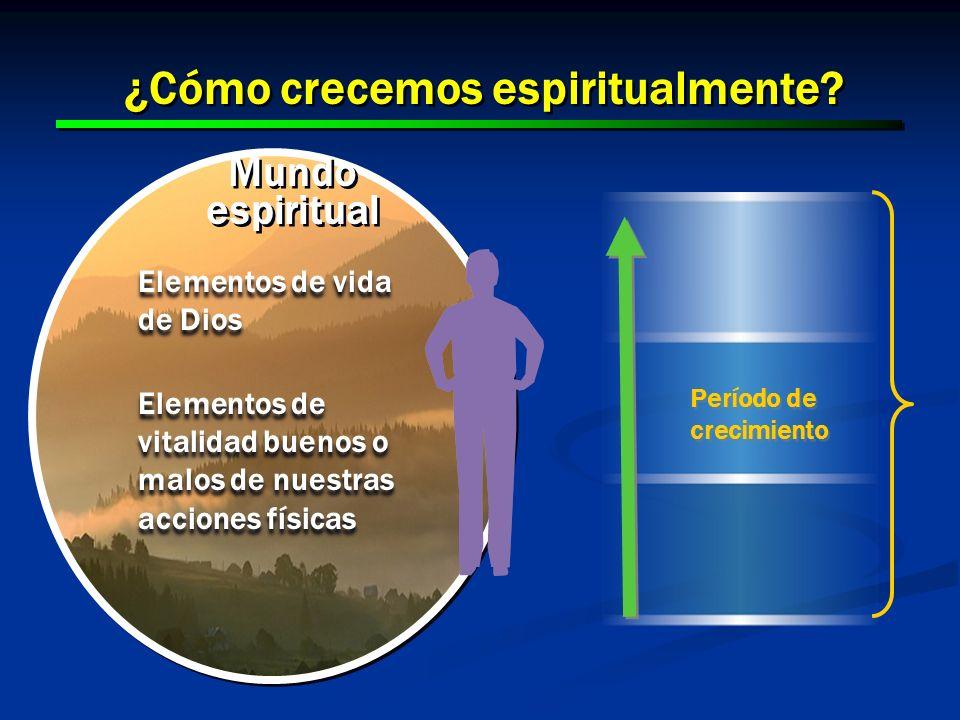 13 ¿Cómo crecemos espiritualmente? Mundo espiritual Elementos de vida de Dios Elementos de vitalidad buenos o malos de nuestras acciones físicas Eleme
