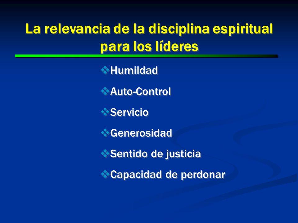 23 La relevancia de la disciplina espiritual para los líderes Humildad Auto-Control Servicio Generosidad Sentido de justicia Capacidad de perdonar Hum