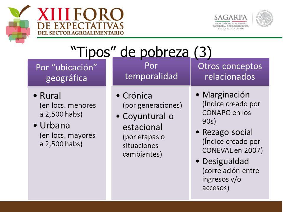 Por temporalidad Crónica (por generaciones) Coyuntural o estacional (por etapas o situaciones cambiantes) Por ubicación geográfica Rural (en locs. men