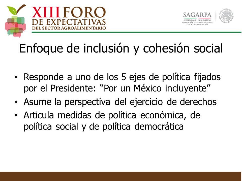 Responde a uno de los 5 ejes de política fijados por el Presidente: Por un México incluyente Asume la perspectiva del ejercicio de derechos Articula m