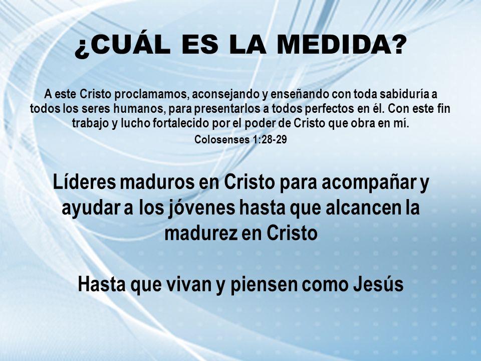 ¿CUÁL ES LA MEDIDA? A este Cristo proclamamos, aconsejando y enseñando con toda sabiduría a todos los seres humanos, para presentarlos a todos perfect