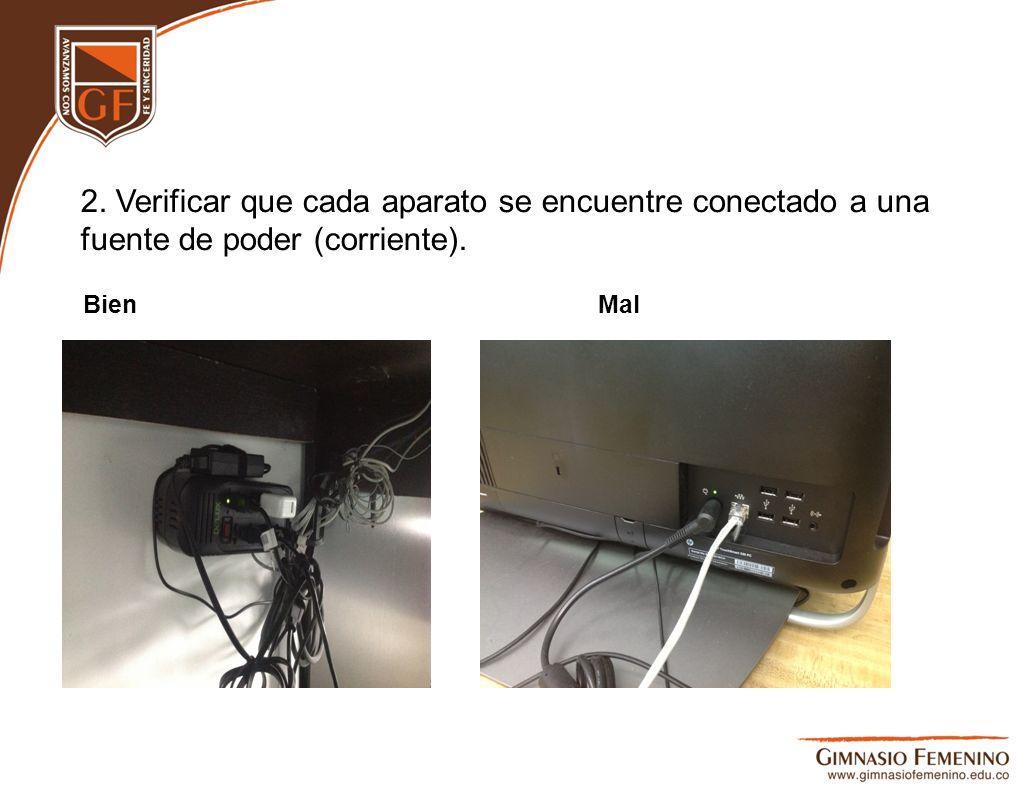 2. Verificar que cada aparato se encuentre conectado a una fuente de poder (corriente). BienMal