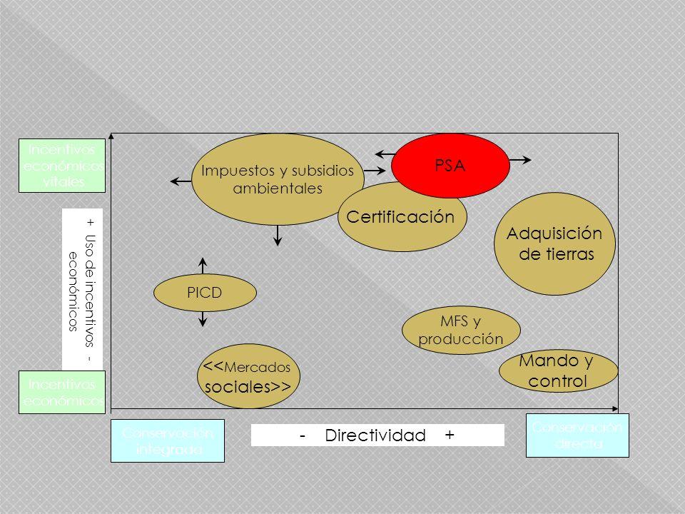 Incentivos económicos vitales Incentivos económicos Conservación integrada Conservación directa PICD Impuestos y subsidios ambientales Certificación PSA Adquisición de tierras MFS y producción Mando y control - Directividad + + Uso de incentivos - económicos << Mercados sociales>>