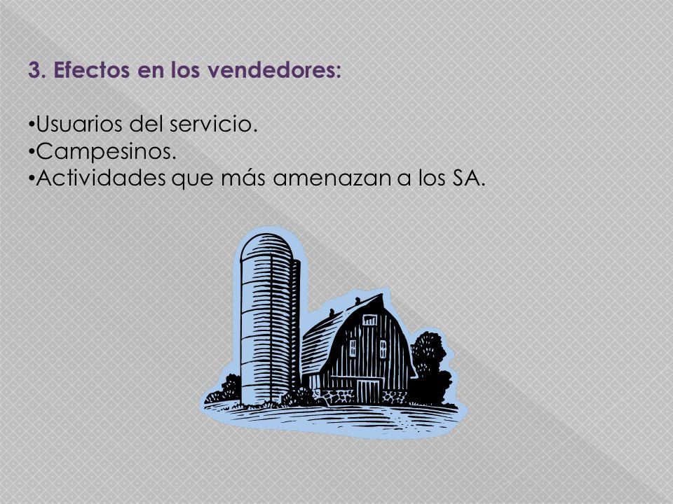3. Efectos en los vendedores: Usuarios del servicio. Campesinos. Actividades que más amenazan a los SA.