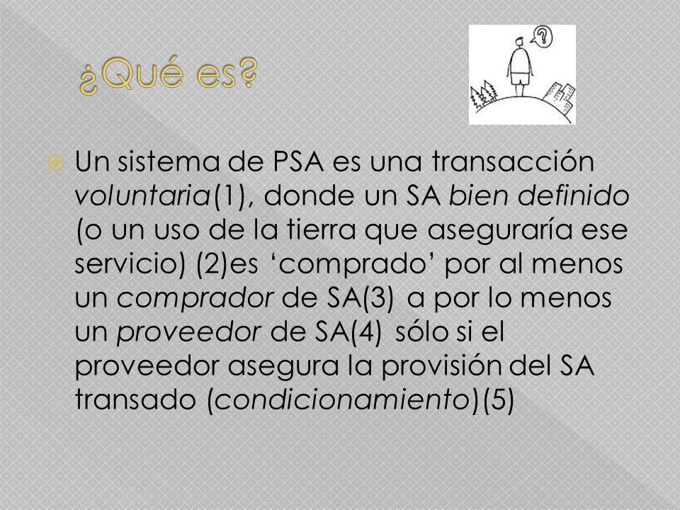 Un sistema de PSA es una transacción voluntaria(1), donde un SA bien definido (o un uso de la tierra que aseguraría ese servicio) (2)es comprado por al menos un comprador de SA(3) a por lo menos un proveedor de SA(4) sólo si el proveedor asegura la provisión del SA transado (condicionamiento)(5)