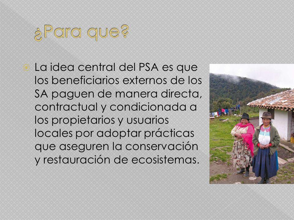 La idea central del PSA es que los beneficiarios externos de los SA paguen de manera directa, contractual y condicionada a los propietarios y usuarios locales por adoptar prácticas que aseguren la conservación y restauración de ecosistemas.