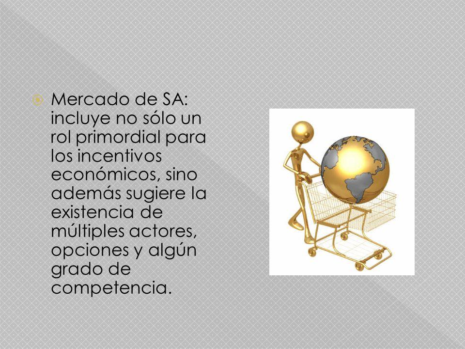 Mercado de SA: incluye no sólo un rol primordial para los incentivos económicos, sino además sugiere la existencia de múltiples actores, opciones y algún grado de competencia.