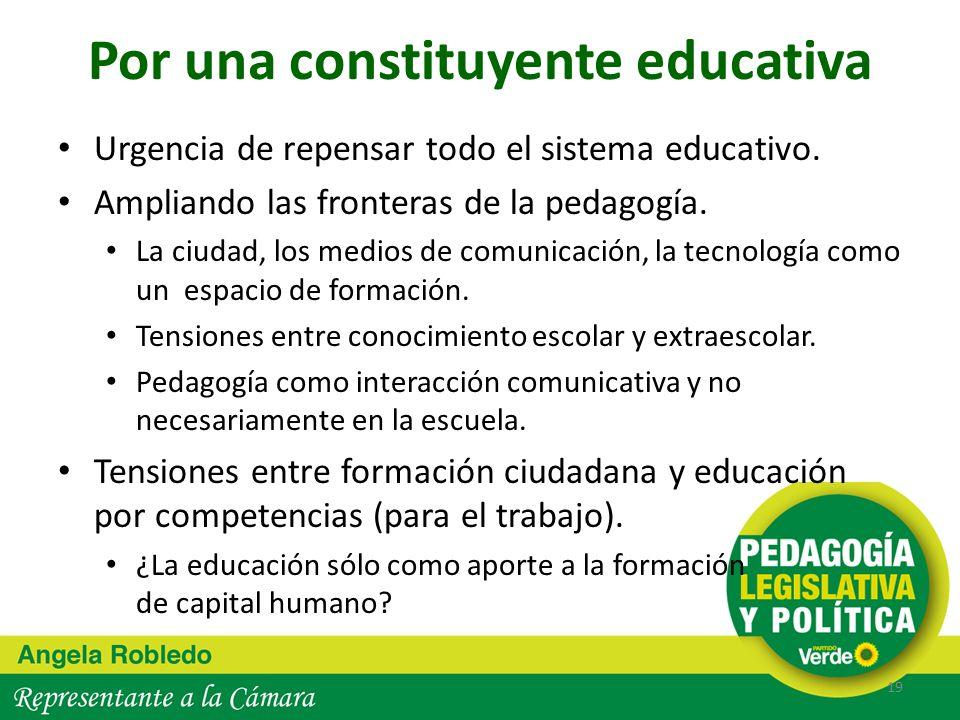 Por una constituyente educativa Urgencia de repensar todo el sistema educativo. Ampliando las fronteras de la pedagogía. La ciudad, los medios de comu