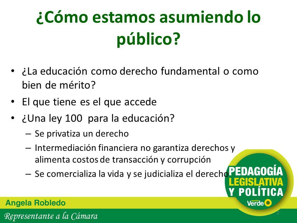 ¿Cómo estamos asumiendo lo público? ¿La educación como derecho fundamental o como bien de mérito? El que tiene es el que accede ¿Una ley 100 para la e