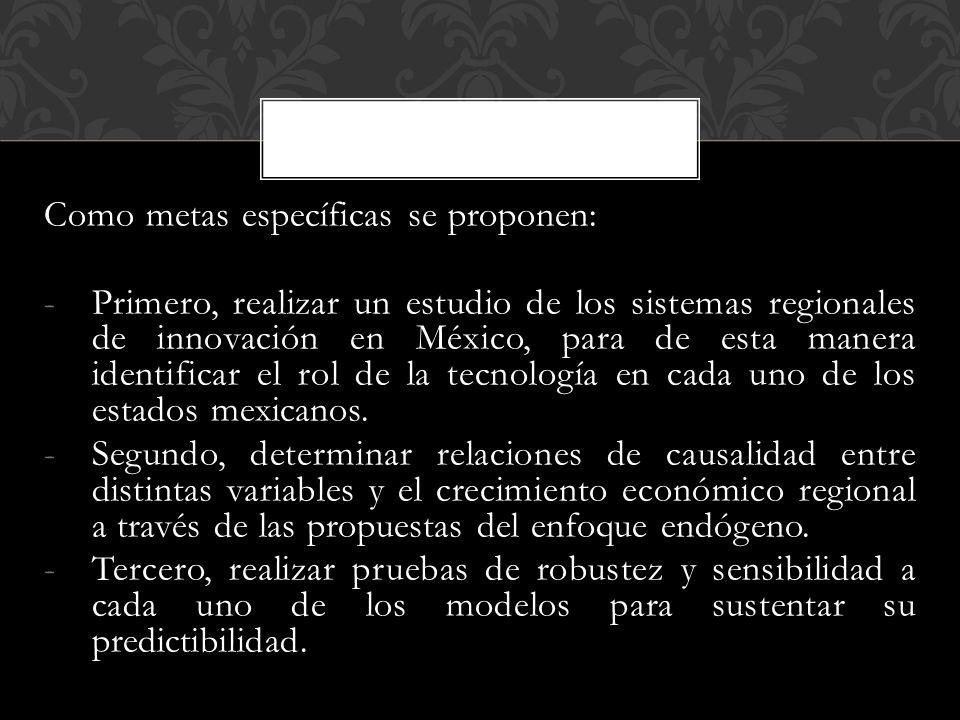 Como metas específicas se proponen: -Primero, realizar un estudio de los sistemas regionales de innovación en México, para de esta manera identificar el rol de la tecnología en cada uno de los estados mexicanos.