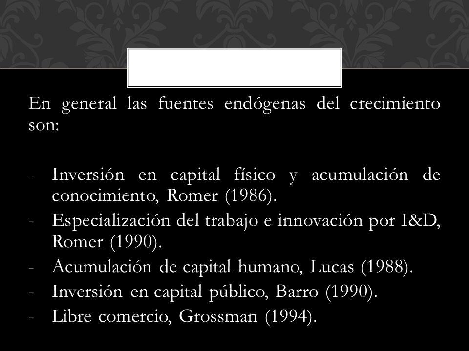 En general las fuentes endógenas del crecimiento son: -Inversión en capital físico y acumulación de conocimiento, Romer (1986).