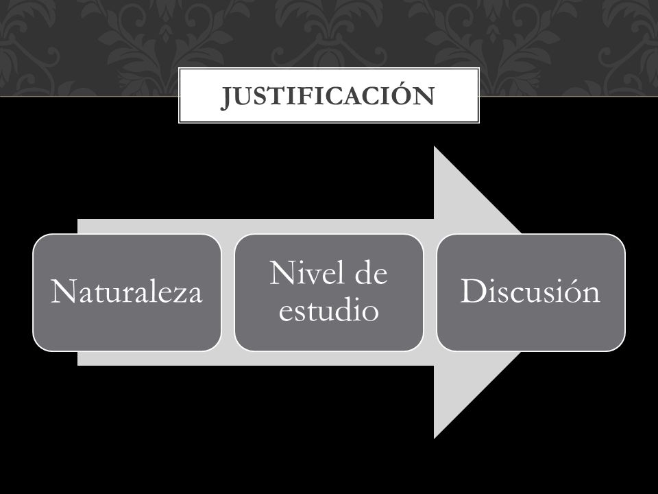 Naturaleza Nivel de estudio Discusión JUSTIFICACIÓN