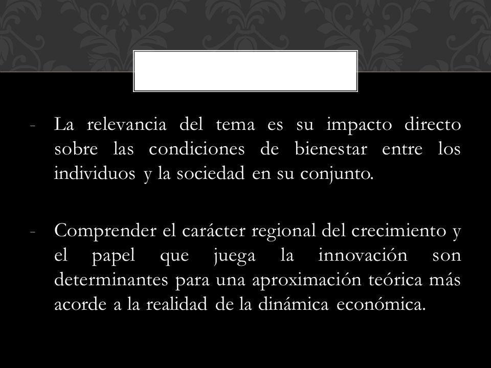 -La relevancia del tema es su impacto directo sobre las condiciones de bienestar entre los individuos y la sociedad en su conjunto.