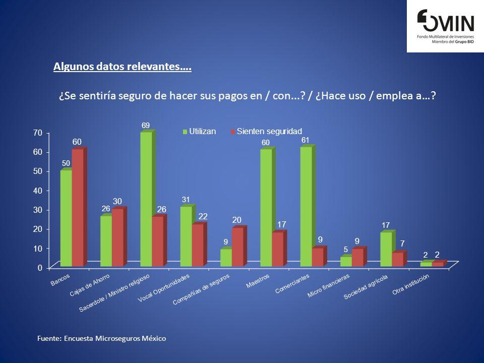 Fuente: Encuesta Microseguros México Algunos datos relevantes…. ¿Se sentiría seguro de hacer sus pagos en / con...? / ¿Hace uso / emplea a…?