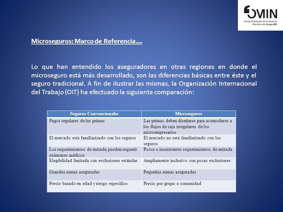 Microseguros: Marco de Referencia…. Lo que han entendido los aseguradores en otras regiones en donde el microseguro está más desarrollado, son las dif