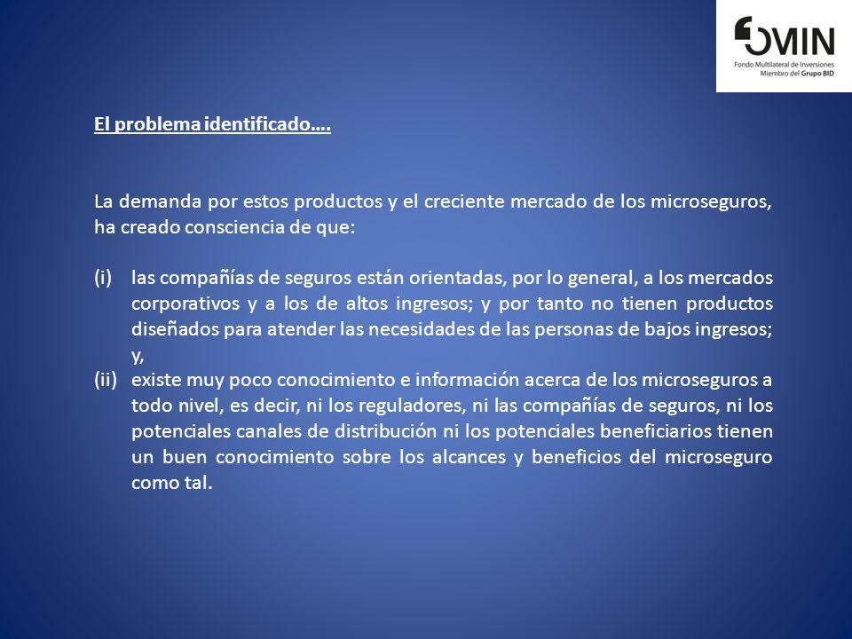 El problema identificado…. La demanda por estos productos y el creciente mercado de los microseguros, ha creado consciencia de que: (i)las compañías d