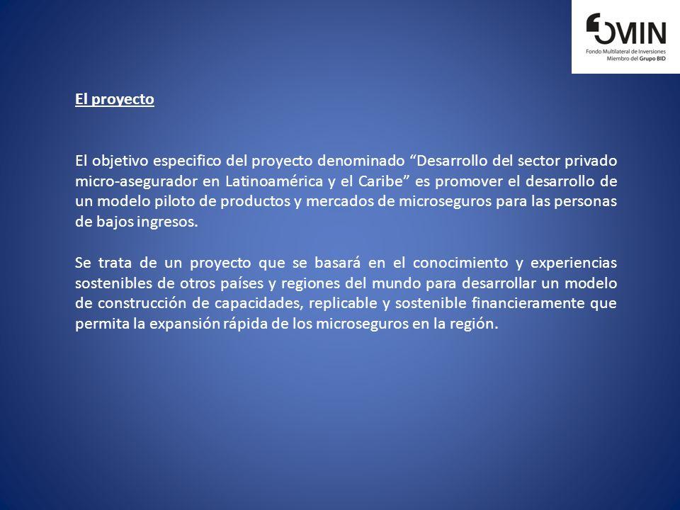 El proyecto El objetivo especifico del proyecto denominado Desarrollo del sector privado micro-asegurador en Latinoamérica y el Caribe es promover el