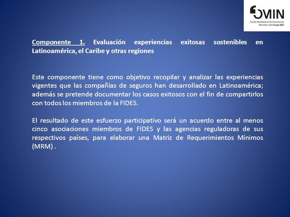 Componente 1. Evaluación experiencias exitosas sostenibles en Latinoamérica, el Caribe y otras regiones Este componente tiene como objetivo recopilar