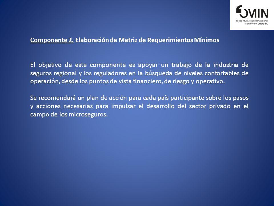 Componente 2. Elaboración de Matriz de Requerimientos Mínimos El objetivo de este componente es apoyar un trabajo de la industria de seguros regional