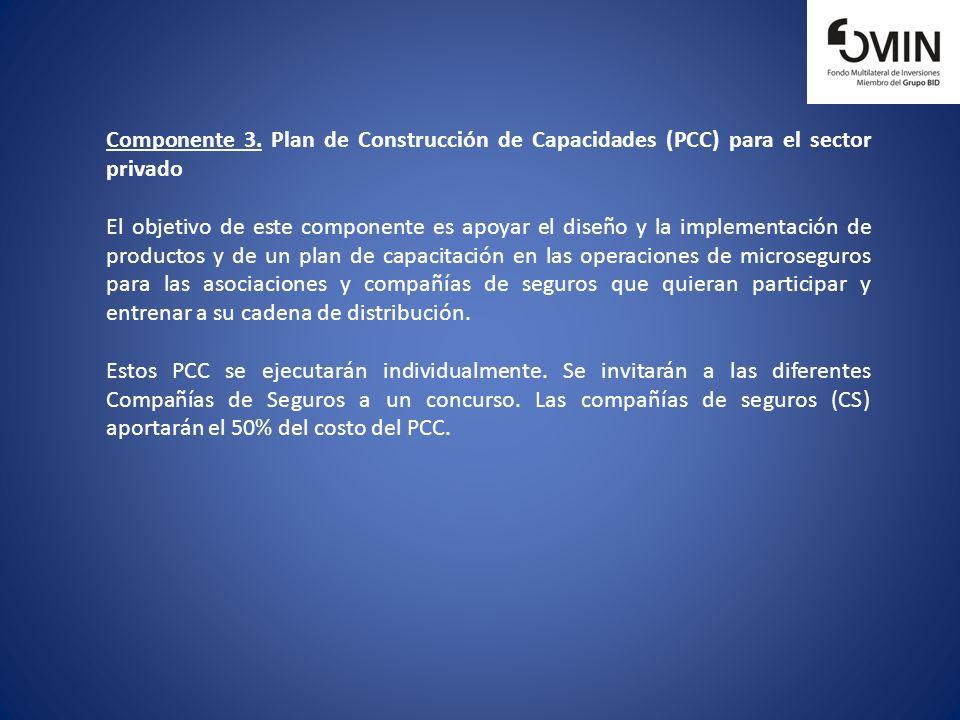 Componente 3. Plan de Construcción de Capacidades (PCC) para el sector privado El objetivo de este componente es apoyar el diseño y la implementación