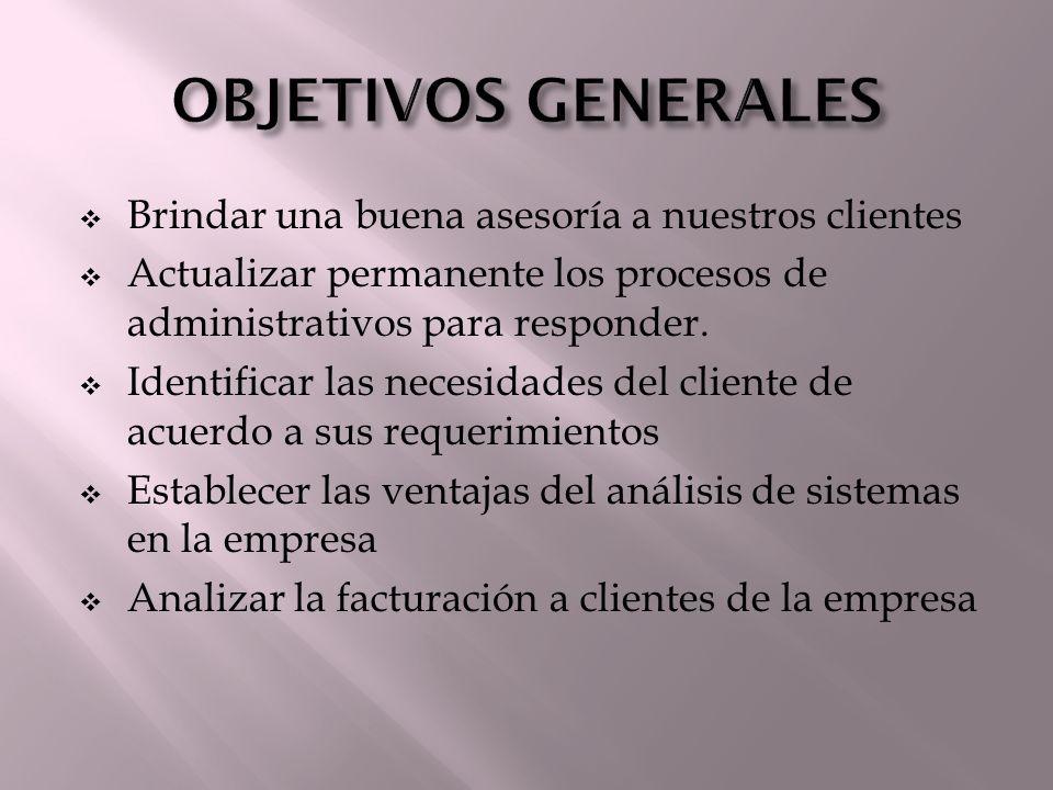 Brindar una buena asesoría a nuestros clientes Actualizar permanente los procesos de administrativos para responder. Identificar las necesidades del c