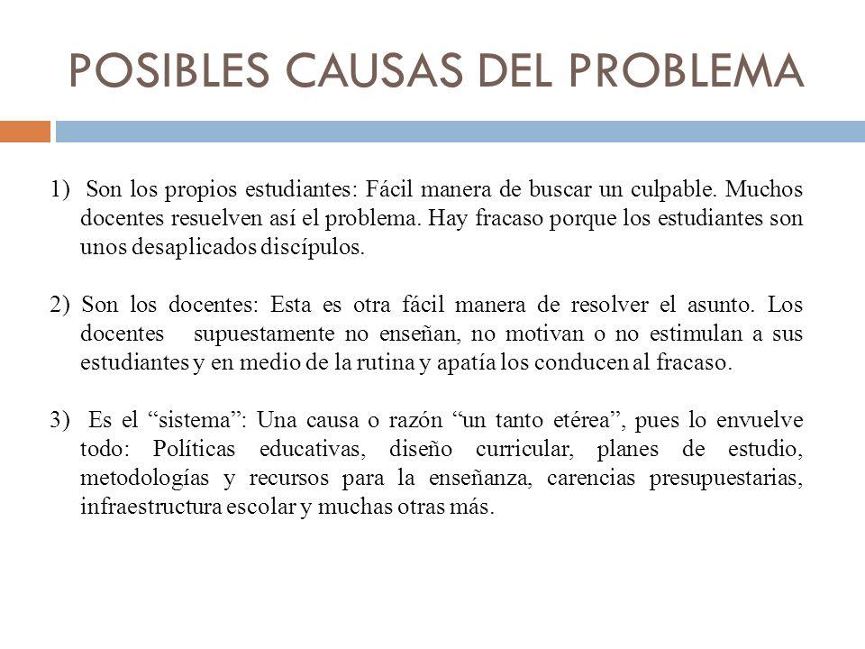 POSIBLES CAUSAS DEL PROBLEMA 1) Son los propios estudiantes: Fácil manera de buscar un culpable.