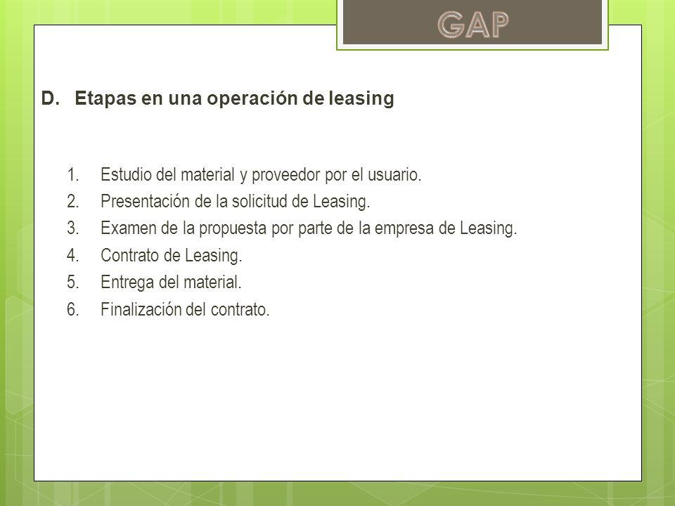 D.Etapas en una operación de leasing 1.Estudio del material y proveedor por el usuario. 2.Presentación de la solicitud de Leasing. 3.Examen de la prop
