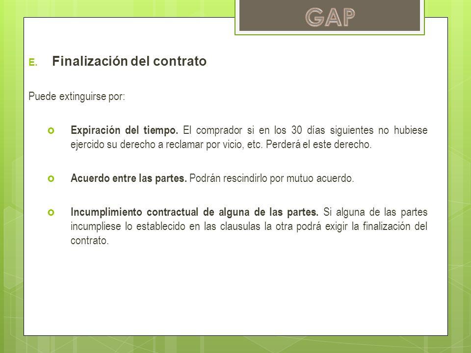 E. Finalización del contrato Puede extinguirse por: Expiración del tiempo. El comprador si en los 30 días siguientes no hubiese ejercido su derecho a