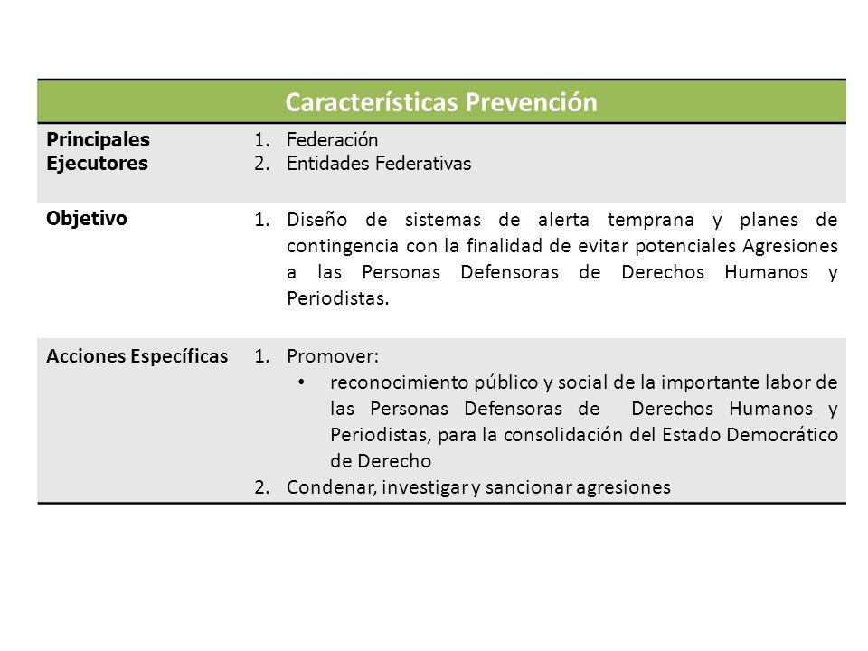 Características Prevención Principales Ejecutores 1.Federación 2.Entidades Federativas Objetivo 1.Diseño de sistemas de alerta temprana y planes de contingencia con la finalidad de evitar potenciales Agresiones a las Personas Defensoras de Derechos Humanos y Periodistas.
