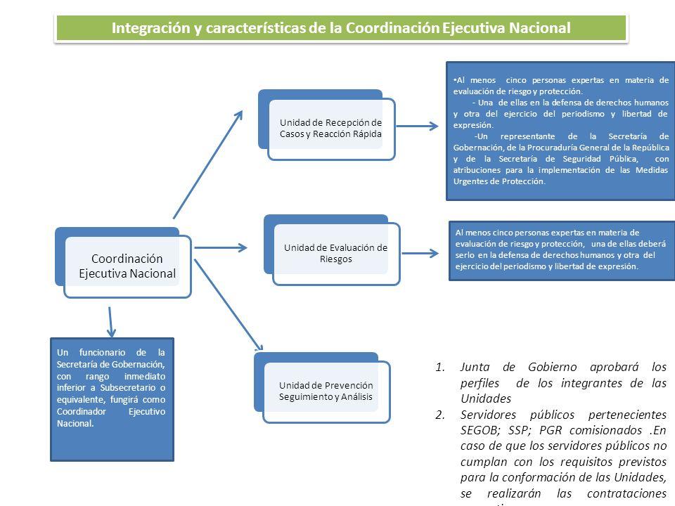 Coordinación Ejecutiva Nacional Un funcionario de la Secretaría de Gobernación, con rango inmediato inferior a Subsecretario o equivalente, fungirá como Coordinador Ejecutivo Nacional.