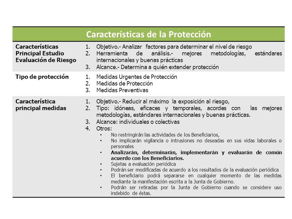 Características de la Protección Características Principal Estudio Evaluación de Riesgo 1.Objetivo.- Analizar factores para determinar el nivel de riesgo 2.Herramienta de análisis.- mejores metodologías, estándares internacionales y buenas prácticas 3.Alcance.- Determina a quién extender protección Tipo de protección1.Medidas Urgentes de Protección 2.Medidas de Protección 3.Medidas Preventivas Característica principal medidas 1.Objetivo.- Reducir al máximo la exposición al riesgo, 2.Tipo: idóneas, eficaces y temporales, acordes con las mejores metodologías, estándares internacionales y buenas prácticas.