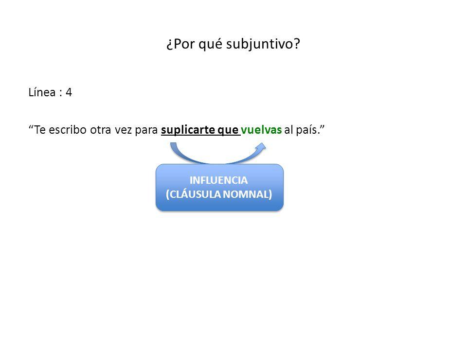 ¿Por qué subjuntivo? Línea : 4 Te escribo otra vez para suplicarte que vuelvas al país. INFLUENCIA (CLÁUSULA NOMNAL) INFLUENCIA (CLÁUSULA NOMNAL)