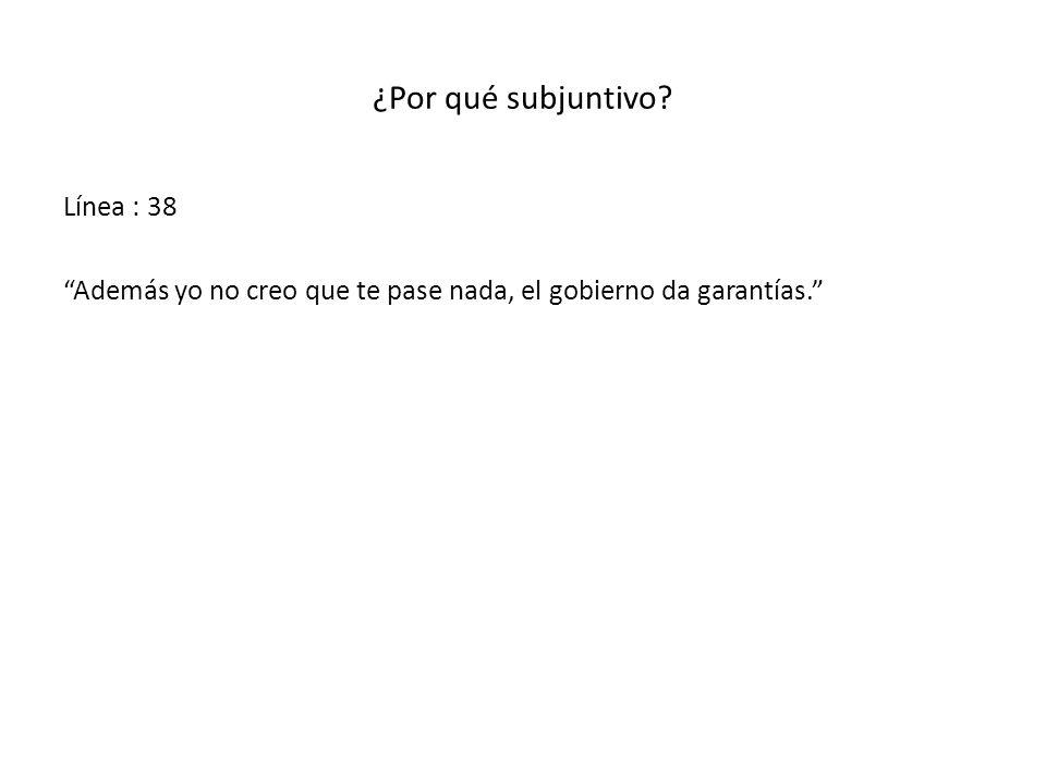 ¿Por qué subjuntivo? Línea : 38 Además yo no creo que te pase nada, el gobierno da garantías.