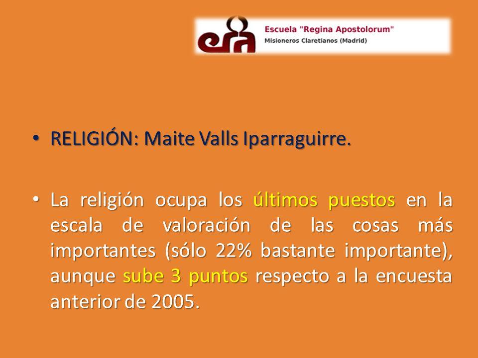 RELIGIÓN: Maite Valls Iparraguirre. RELIGIÓN: Maite Valls Iparraguirre. La religión ocupa los últimos puestos en la escala de valoración de las cosas