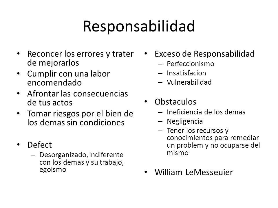 Responsabilidad Reconcer los errores y trater de mejorarlos Cumplir con una labor encomendado Afrontar las consecuencias de tus actos Tomar riesgos po