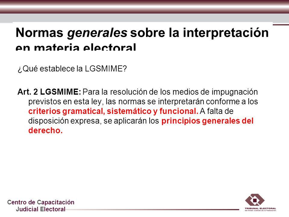 Centro de Capacitación Judicial Electoral Normas generales sobre la interpretación en materia electoral ¿Qué establece la LGSMIME? Art. 2 LGSMIME: Par