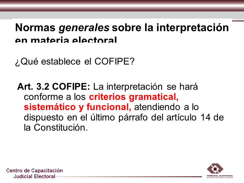 Centro de Capacitación Judicial Electoral Normas generales sobre la interpretación en materia electoral ¿Qué establece el COFIPE? Art. 3.2 COFIPE: La