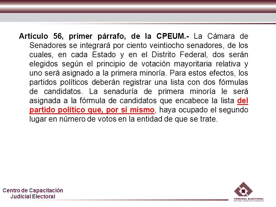 Centro de Capacitación Judicial Electoral Artículo 56, primer párrafo, de la CPEUM.- La Cámara de Senadores se integrará por ciento veintiocho senador
