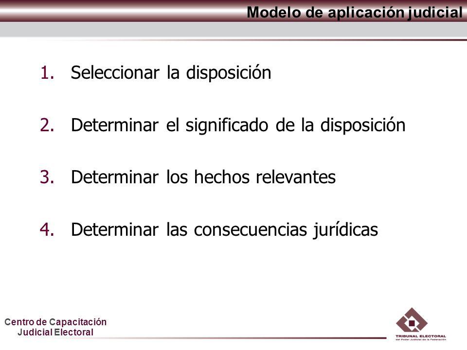 Centro de Capacitación Judicial Electoral 1.Seleccionar la disposición 2.Determinar el significado de la disposición 3.Determinar los hechos relevantes 4.Determinar las consecuencias jurídicas Modelo de aplicación judicial