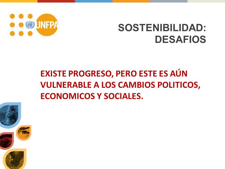 SOSTENIBILIDAD: DESAFIOS EXISTE PROGRESO, PERO ESTE ES AÚN VULNERABLE A LOS CAMBIOS POLITICOS, ECONOMICOS Y SOCIALES.