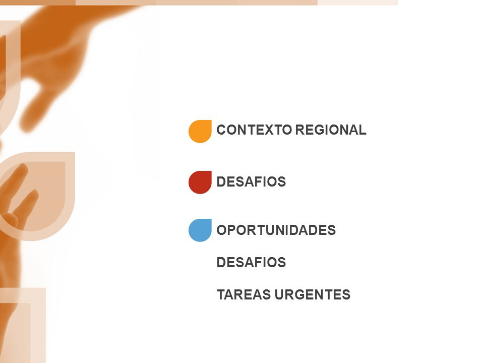 CONTEXTO REGIONAL OPORTUNIDADES DESAFIOS TAREAS URGENTES DESAFIOS