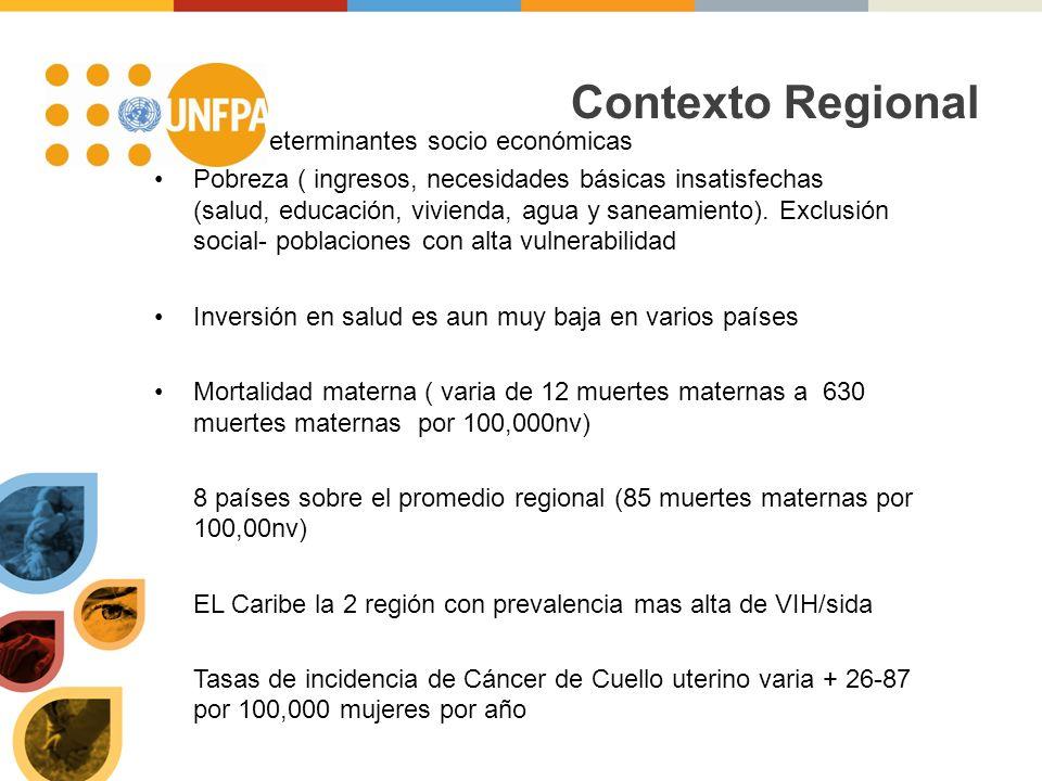 Contexto Regional Algunas determinantes socio económicas Pobreza ( ingresos, necesidades básicas insatisfechas (salud, educación, vivienda, agua y saneamiento).
